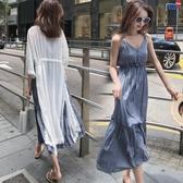 現貨出清-2019新款女裝早春季胖妹妹連身裙兩件套洋氣顯瘦網紅大碼胖mm套裝9-26
