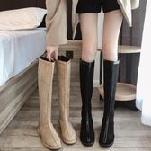 不過膝長靴女2019新款秋冬英倫風百搭顯瘦高筒靴卡其色網紅馬丁靴