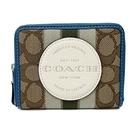 【COACH】大圓標LOGO織布鈔票零錢袋短夾(焦糖/配色藍)