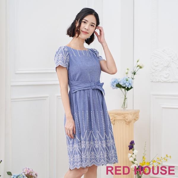 【RED HOUSE 蕾赫斯】蕾絲牛仔洋裝(藍色)