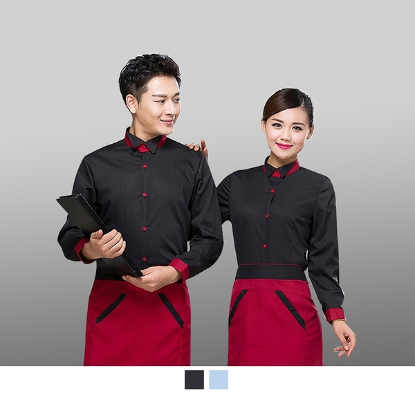 晶輝專業團體制服CH162*面試工作服長袖服務員工裝飯店西餐廳前台經理長袖素面襯衫