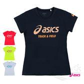 ASICS亞瑟士 女印花短袖T恤 (黑) 吸汗速乾,抗紫外線 XT6383-90D【 胖媛的店 】