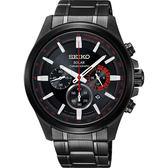 SEIKO Criteria 太陽能計時碼錶-黑X紅
