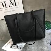 大包包女新款潮托特包學生簡約百搭大容量韓版休閒側背手提包 polygirl