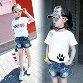女童t恤短袖夏款新韓版印花圓領純棉打底衫上衣小女孩短袖