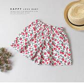 可愛紅蘋果棉麻小短褲 春夏童裝 女童短褲 女童褲裙 女童寬褲 女童褲子