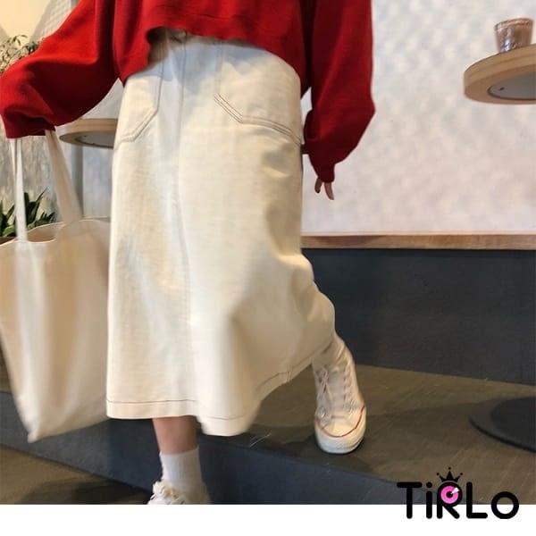 長裙-Tirlo-鬆緊腰大口袋工裝長裙-兩色(現+追加預計5-7工作天出貨)
