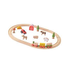 適用6個月以上 無毒玩具 德國EverEarth環保系寶寶成長木玩 開心農場軌道組 小火車