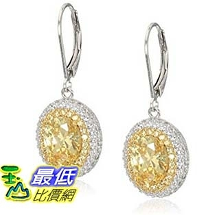 [美國直購] Rhodium and 18k Yellow Gold Plated Sterling Silver Oval Yellow Cubic Zirconia 9x7mm   耳環