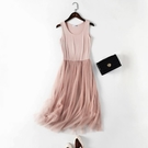 秋冬2020蕾絲莫代爾吊帶網紗洋裝女打底大碼背心裙內搭無袖長裙