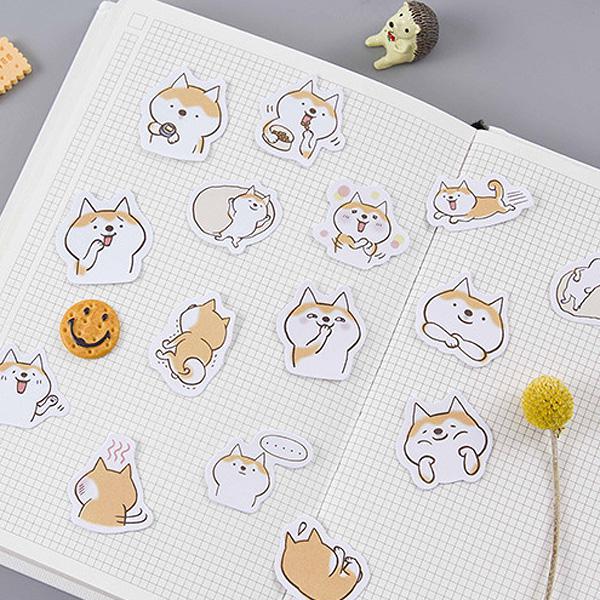 【BlueCat】糖詩貓犬二重奏萌萌的撒嬌哈士奇盒裝貼紙 (45入)