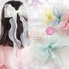 韓系公主風~雙層歐根紗蝴蝶結飄帶壓夾頂夾側邊夾-5色(P12284)【水娃娃時尚童裝】