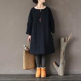 長袖洋裝 格紋 盤釦 棉紗 鋪棉 長袖洋裝 連身裙【CM01697】 BOBI