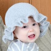 嬰兒帽子秋冬3-6-12個月女寶寶帽子公主帽加棉荷葉邊男女童毛線帽 至簡元素