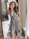 襯衫洋裝 連衣裙女2020新品夏款韓版網紗格子裙收腰顯瘦氣質中長款襯衫裙子 韓菲兒