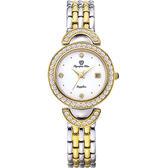 Olympia Star奧林比亞之星 晶燦時光時尚腕錶-金銀(白面)/28mm