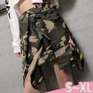 褲裙-S-XL原宿風格迷彩字母貼布鬆緊綁...