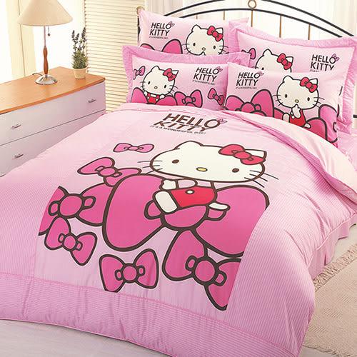 【享夢城堡】HELLO KITTY 蝴蝶結系列-精梳棉單人床包薄被套組