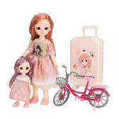 精緻大小姐妹娃娃家家酒組(手腳頭可動)(附行李箱+單車)(2030)【888便利購】
