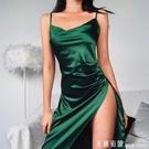 細肩帶洋裝 instahot 歐美風女裝吊帶洋裝女 氣質緞面修身摺皺開叉中長款裙