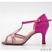~節奏皮件~國標舞鞋拉丁鞋款緞面鑲鑽舞鞋桃紅緞A13328 037