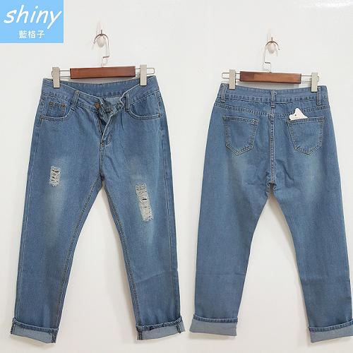【V9968】shiny藍格子-基本元素.寬鬆顯瘦破洞牛仔長褲