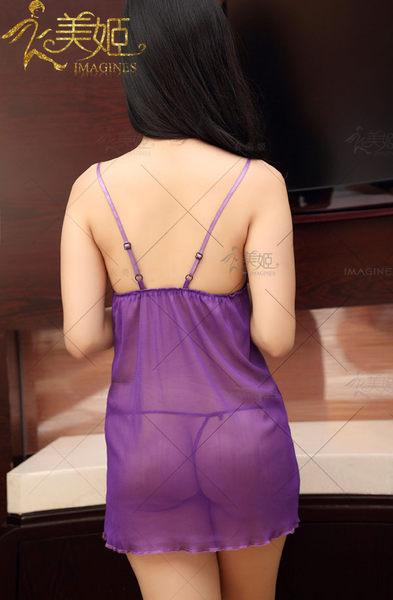 ♥♥衣美姬♥一往深情! 紫色細肩帶 V領蕾絲透視睡衣 火辣情趣睡衣 夜晚戰鬥袍