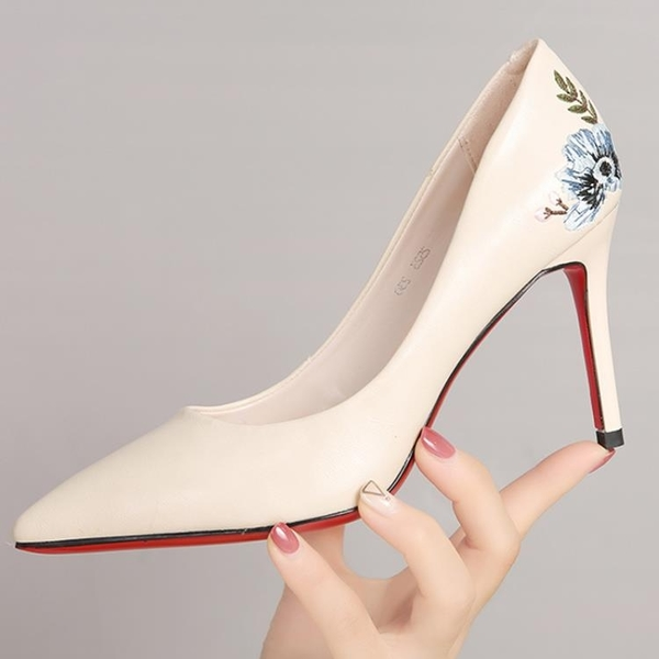 尖頭高跟鞋女2019春季新款韓版百搭淺口印花皮鞋性感貓跟旗袍單鞋 免運