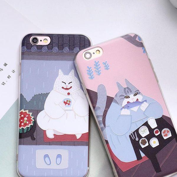 iPhone手機殼 可掛繩 日本和風吃貨貓 浮雕矽膠軟殼 蘋果iPhone7/iPhone6/iPhone5