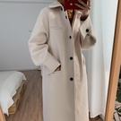2019秋冬新款韓版chic洋氣毛呢大衣女中長款赫本風時尚呢子外套潮