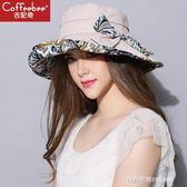 女帽太陽帽沙灘帽女士戶外遮臉防曬蝴蝶結帽子防紫外線摺疊遮陽帽  時尚潮流