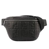 【FENDI】浮雕 LOGO胸口 腰包(黑色) 7VA434 A72V F0GXN