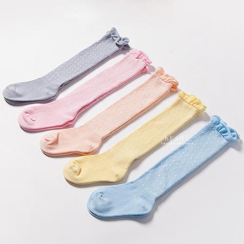 花邊點點透氣網眼長襪 童襪 糖果色 長統襪