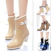 女短筒雨靴高跟可拆卸水鞋防滑坡跟膠鞋休閒單雨鞋【英賽德3C數碼館】