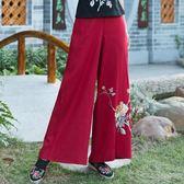大尺碼休閒褲春秋裝女裝民族風繡花鬆緊腰闊腿褲長褲
