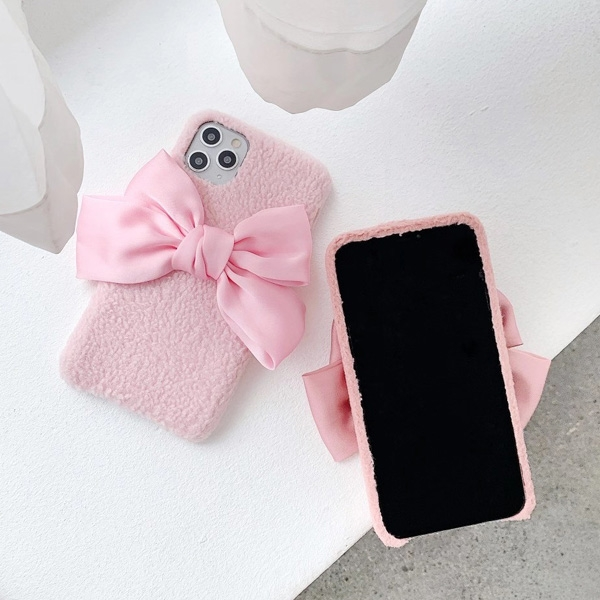 蘋果 iPhone XR XS MAX iX i8+ i7+ SE 2020 粉蝴蝶結 手機殼 毛絨 布質 保護殼