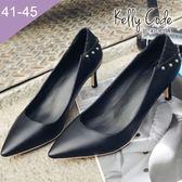 大尺碼女鞋-凱莉密碼-時尚氣質異材質拼接鉚釘尖頭高跟鞋6cm(41-45)【QI880-1】黑皮