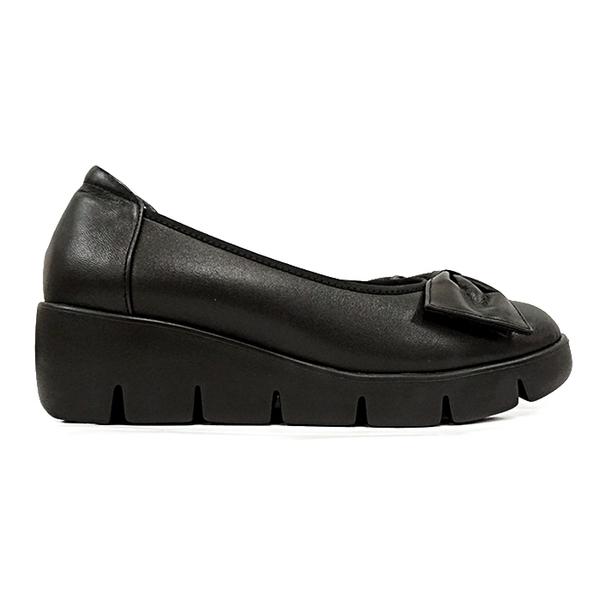 MICHELLE PARK 拇指外翻OK!牛皮蝴蝶結楔型厚底包鞋〈黑〉