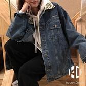 斑馬紋韓版牛仔外套女春季百搭復古港味外套女【Kacey Devlin】