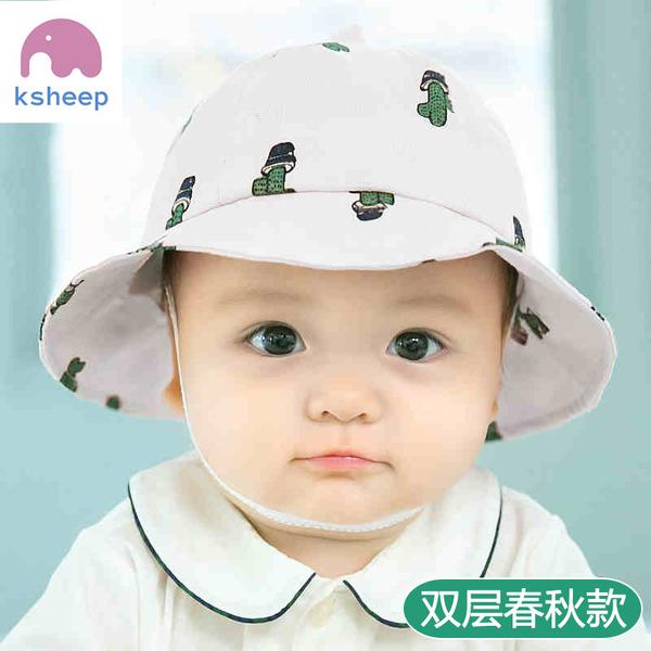 兒童帽子男女帽0-3-6-12個月棉布盆帽遮陽帽夏防曬漁夫帽春秋