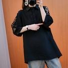 透膚蕾絲顯瘦中長版襯衫上衣-大尺碼 獨具...