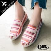 [現貨] 韓國Ollie 懶人鞋 正韓製 波希米亞風 條紋印花 帆布平底懶人鞋【F720122】白色 / 版型偏小