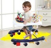 嬰兒童學步車6/7-18個月寶寶防側翻多功能U型學行車可折疊帶音樂  巴黎街頭