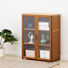楠竹帶門置物櫃-雙門三層60cm 透明櫥窗書櫃 帶門收納櫃【Y10235】快樂生活網