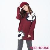RED HOUSE-蕾赫斯-花朵長版針織衫(共2色)