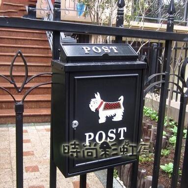 歐式別墅信箱室外防雨水郵箱掛牆帶鎖郵筒大號田園創意信報箱「時尚彩紅屋」