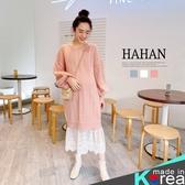 【HC5301】甜美鏤空針織 蕾絲拼接洋