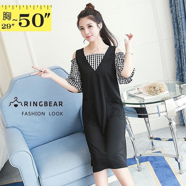 性感洋裝--假兩件甜美性感露肩格紋A字版型口袋V領短袖洋裝(黑XL-5L)-D493眼圈熊中大尺碼