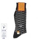 MCM直條紋刺繡LOGO休閒襪(黑色)980204