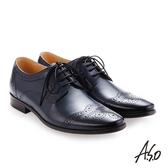 A.S.O 零壓挺力 綁帶蠟感牛皮雕花紳士鞋 深藍色